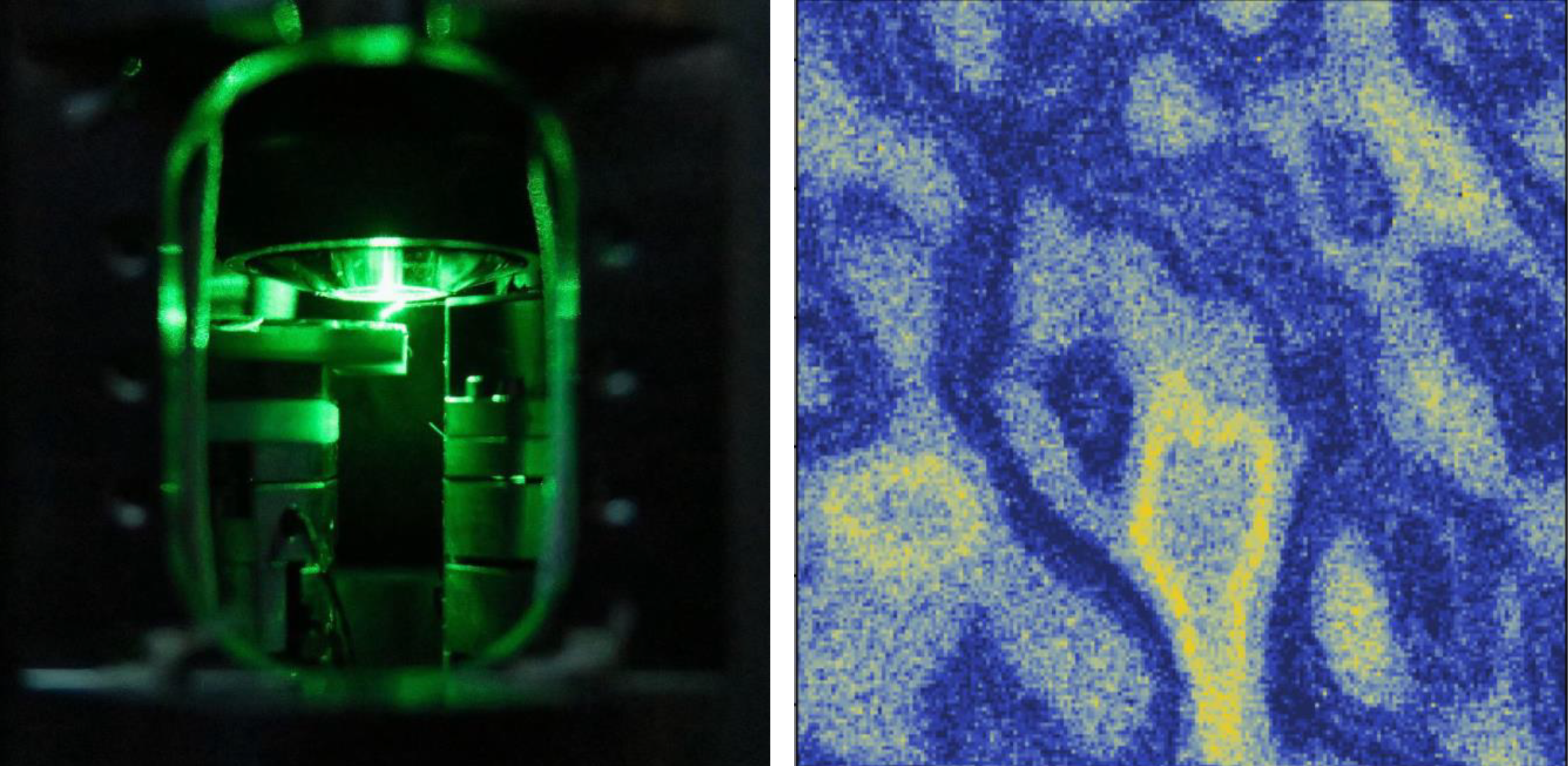 (Left) A close-up of the quantum sensor head for magnetometry performing ODMR of a single NV centre at the tip of a diamond cantilever. (Right) Magnetic variations captured 100 nm above a 5×5 micron area surface with 10-nm resolution using an NV centre.