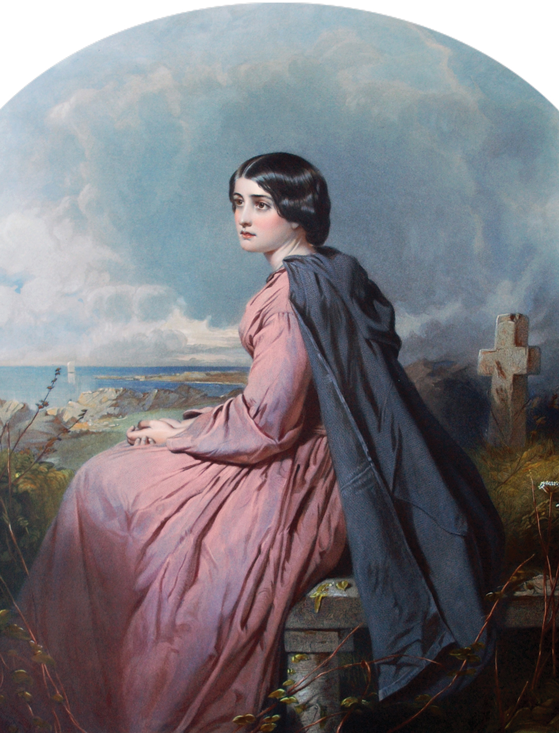 James Faed Écossais (1821 - 1911)  Evangeline , 3e édition, 1863 Lithographie rehaussée à l'aquarelle, 44 x 35,5 cm Musée acadien de l'Université de Moncton,Don de R. P. Clément Cormier, 73-19-29