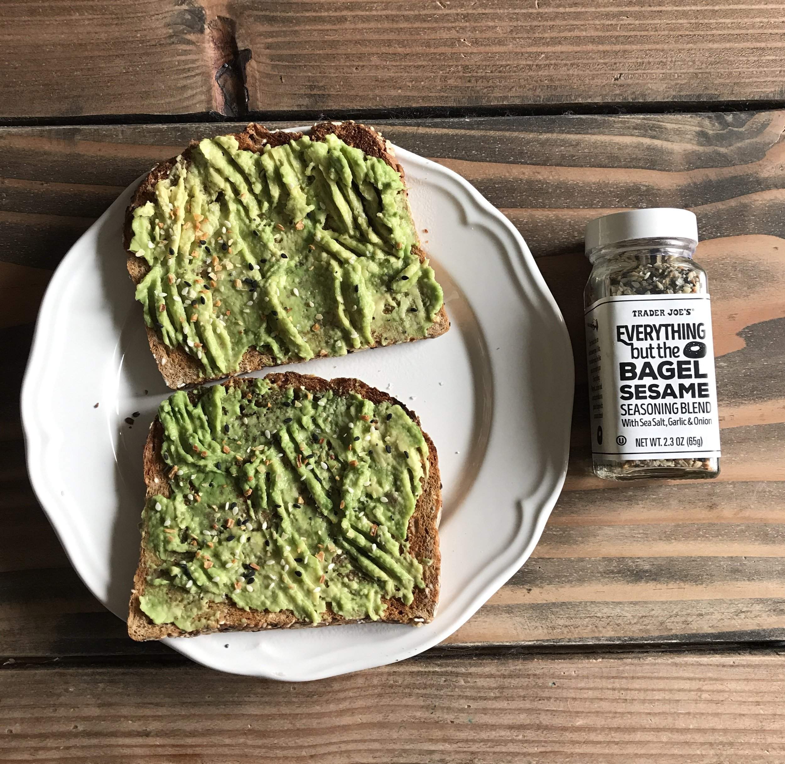 This seasoning is seriously the most amazing stuff on the planet.  Sprinkle it on sandwiches, toast, bagels.  Amaze.  I use half of an organic avocado and Dave's Killer PowerSeed Bread.