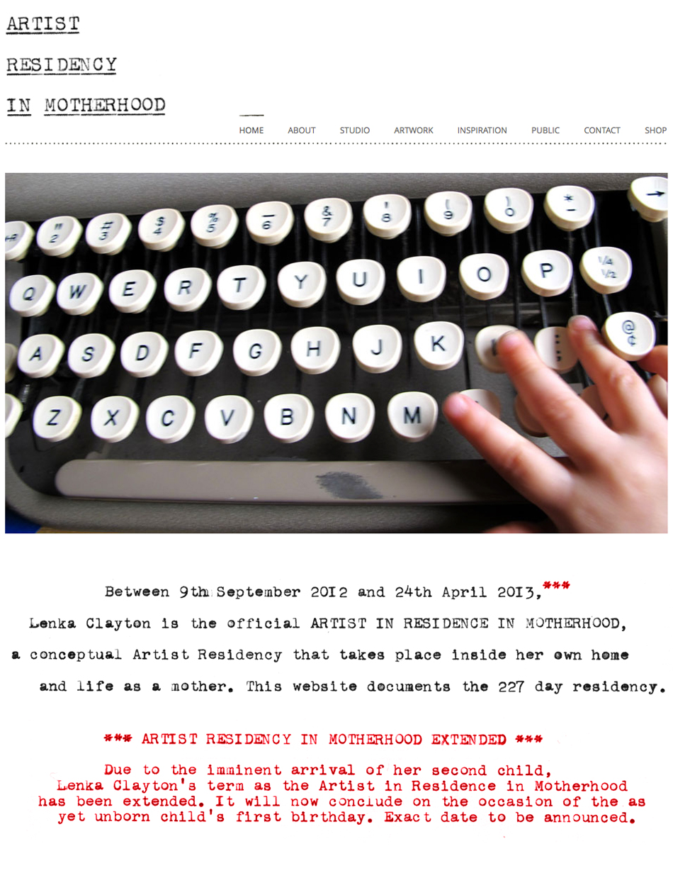 Artist Residency in Motherhood Homepage