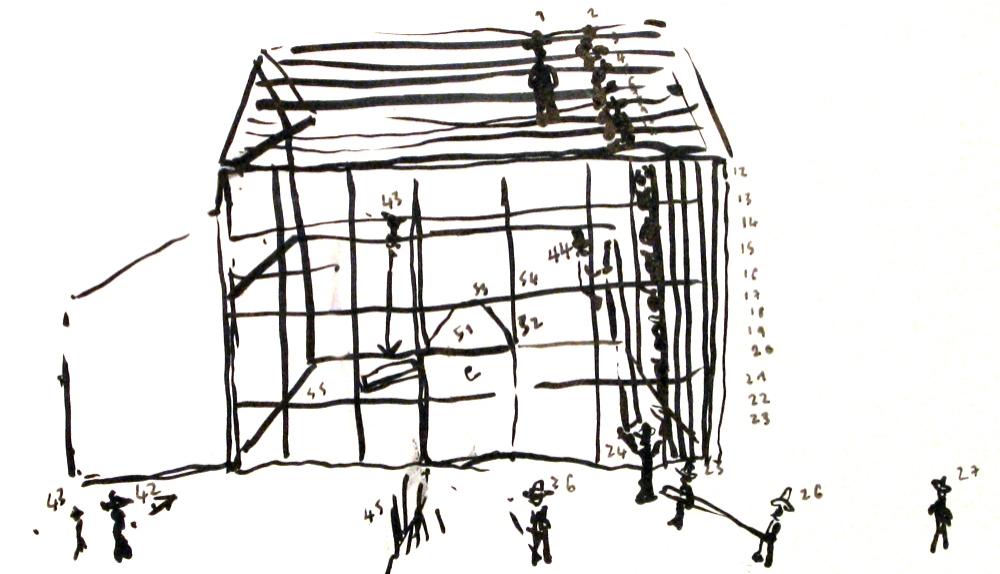 drawing from memory of an Amish barnraising