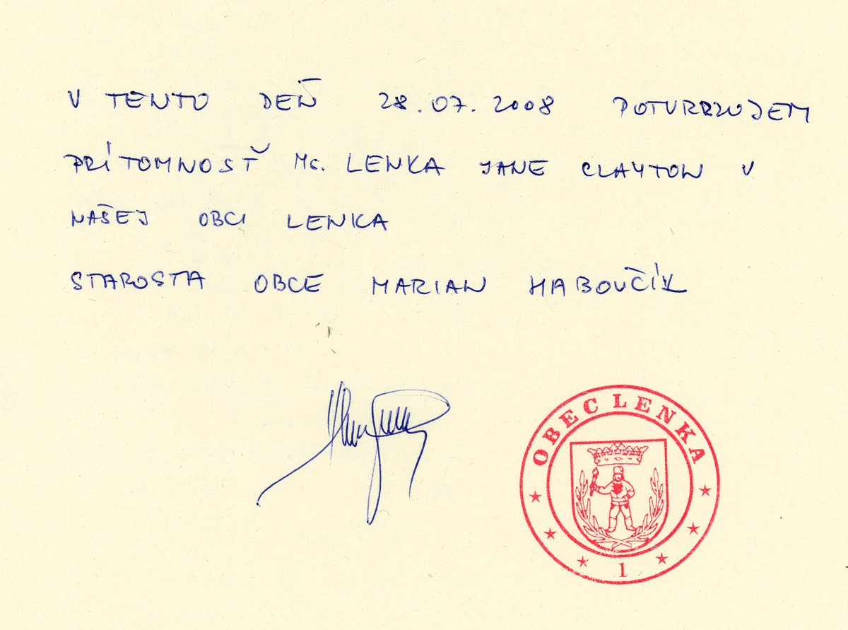 the mayor of Lenka's signature confirming our arrival in his village