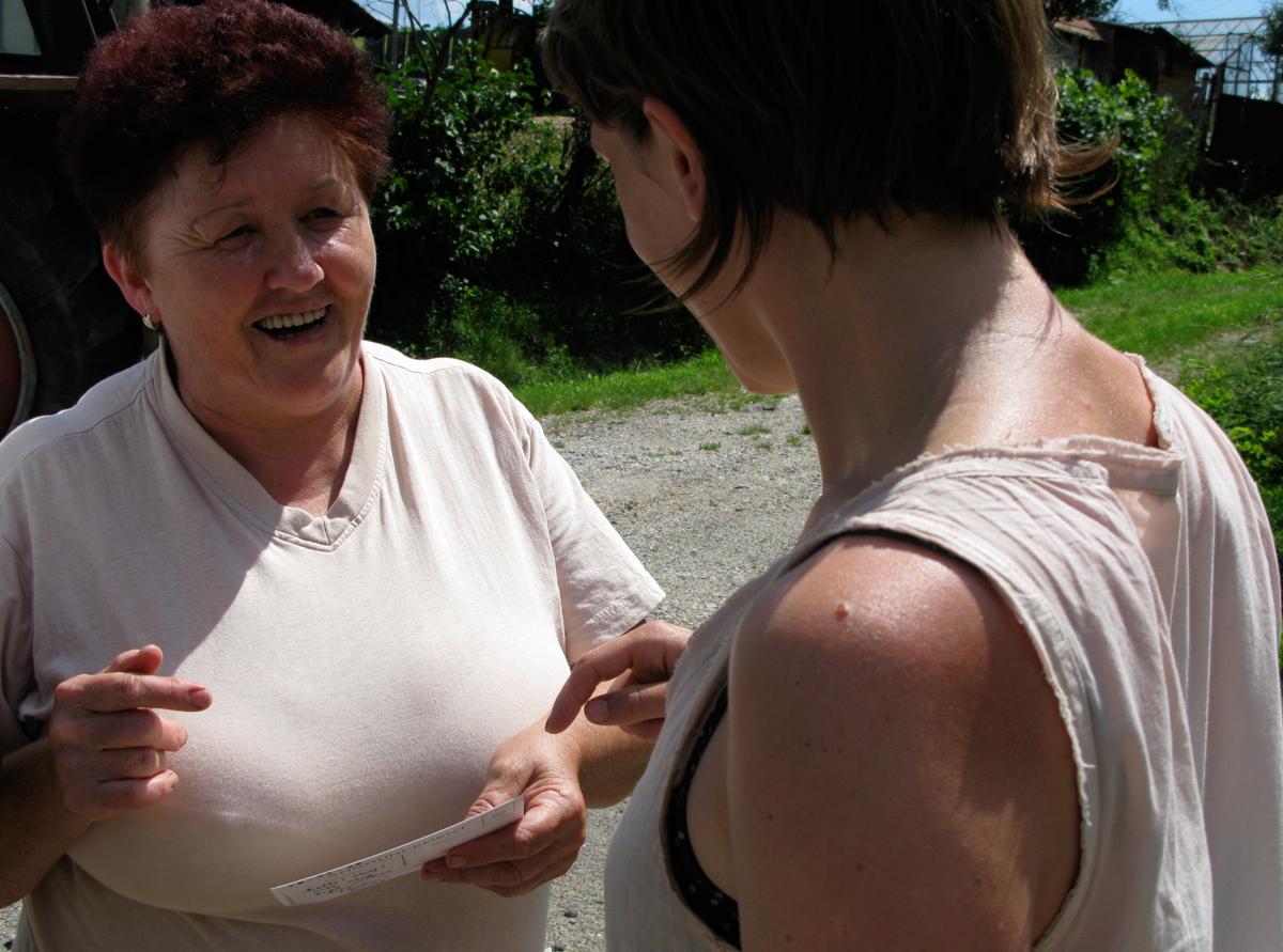 Lenka meeting the villagers of Lenka, Slovakia