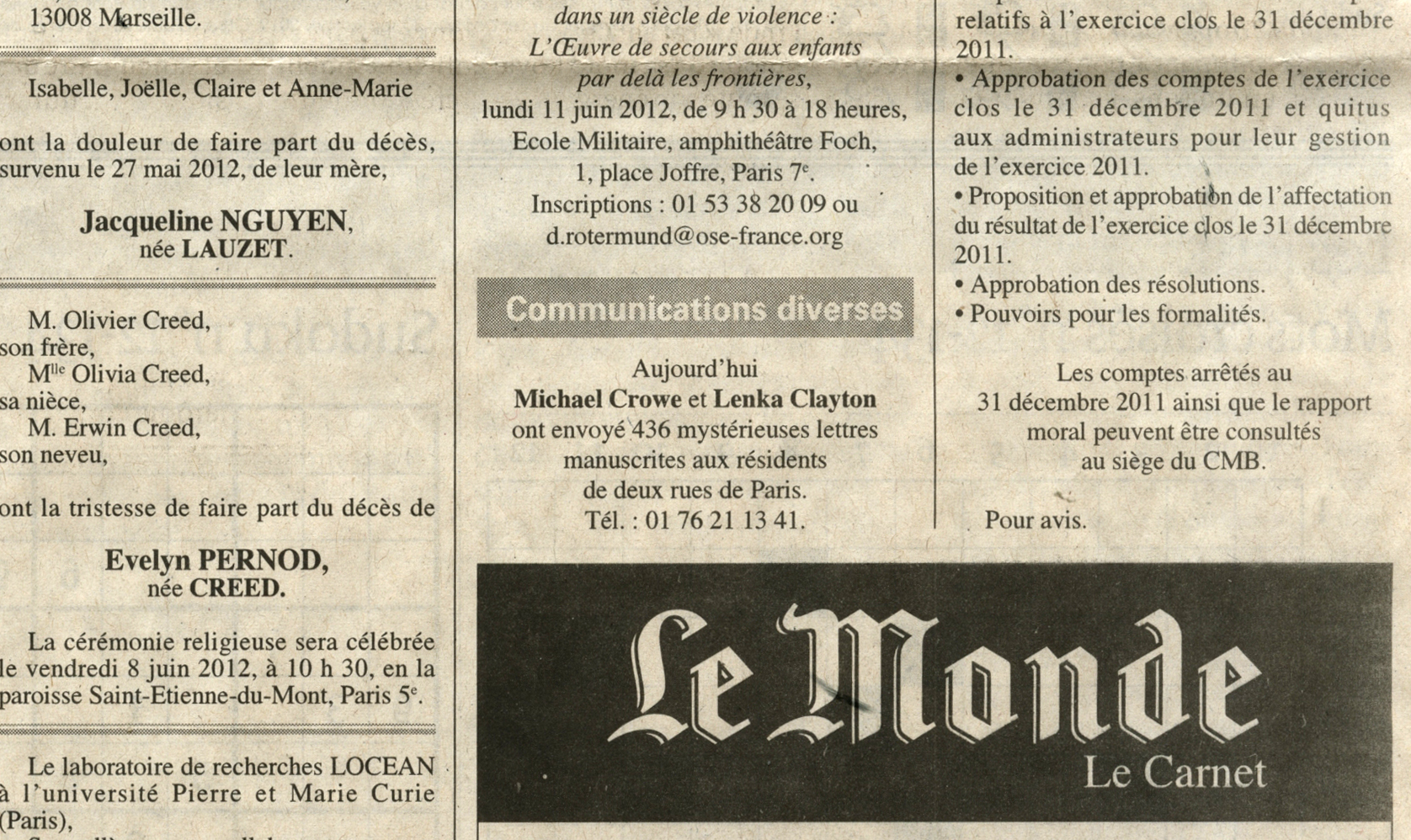 2012 / announcement in Le Monde, the day the letters arrived
