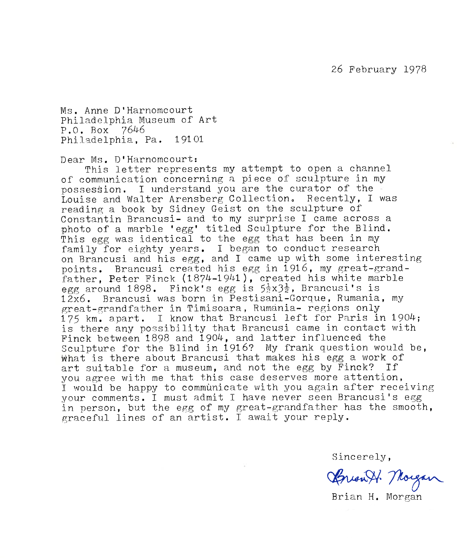 Original Letter from Brian H. Morgan to Anne D'Harnoncourt, 1978