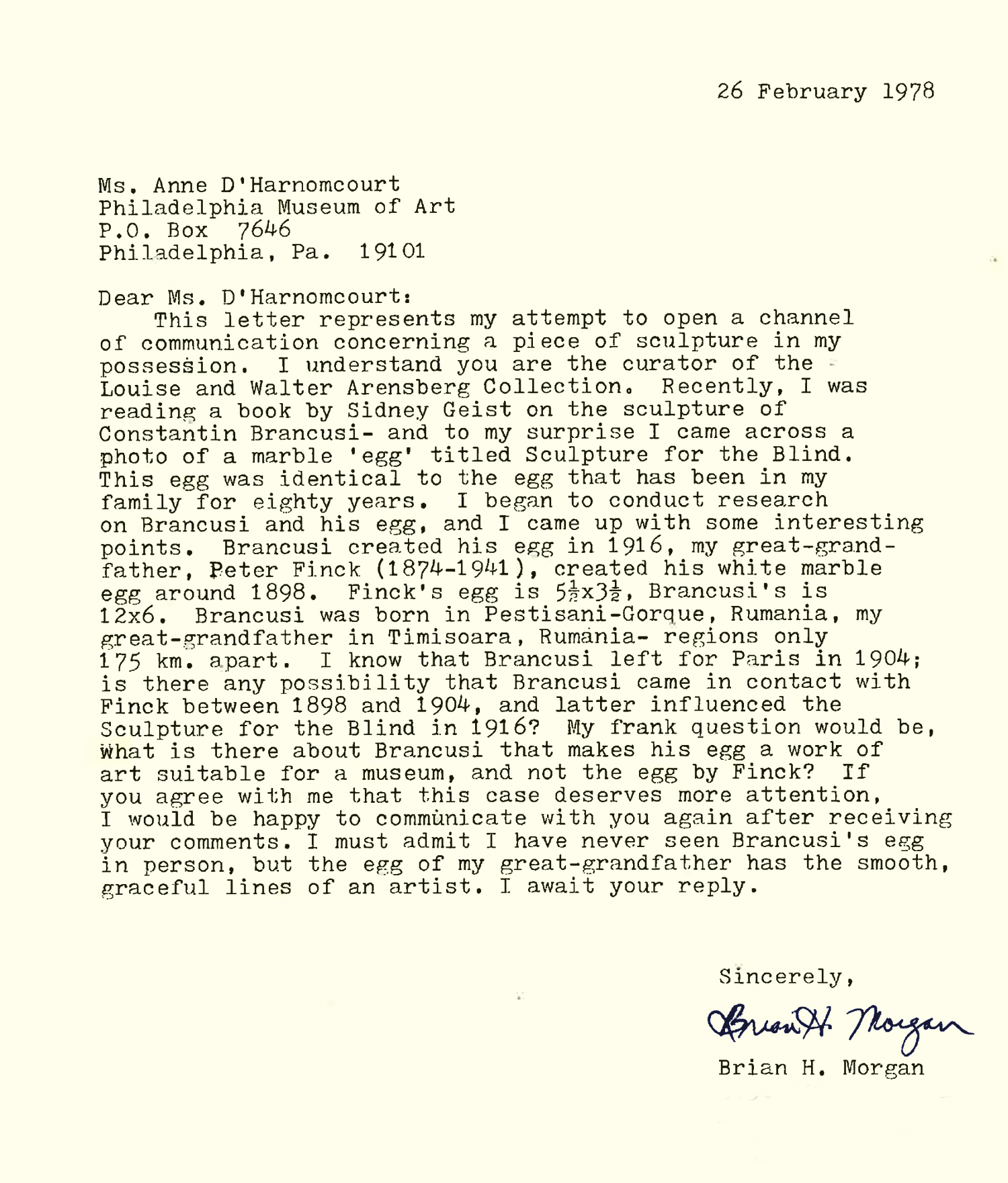Original letter from a member of the public to the Philadelphia Museum of Art's curator. Written in 1978. Found in the Philadelphia Museum of Art's Archives.