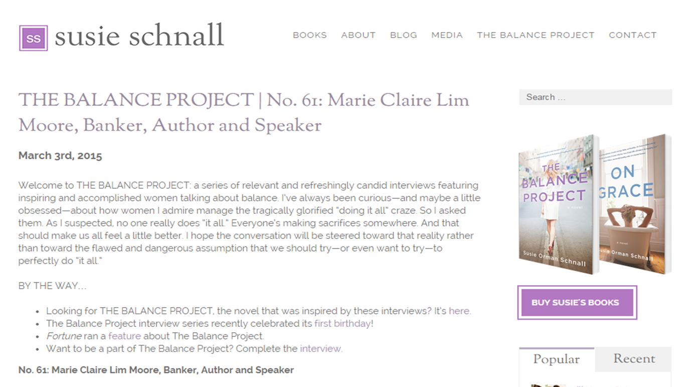 Interview with Huffington Post Blogger Susie Schnall, also author of The Balance Project (March 2015)