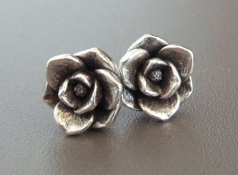 Magnolia Earrings in Sterling Silver.