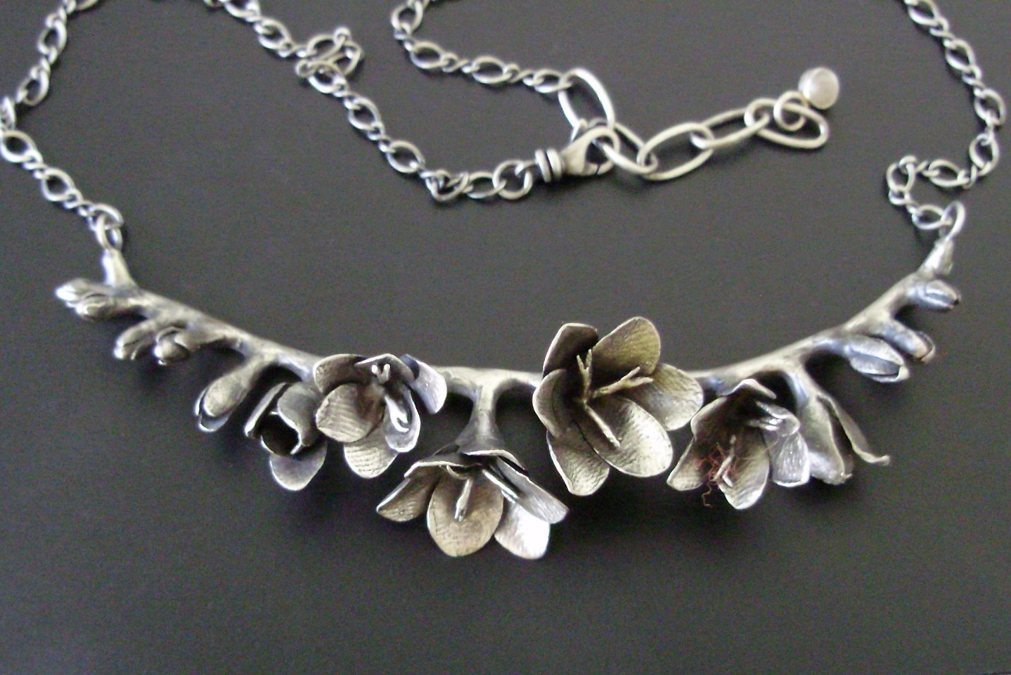 Freesia Necklace, in Sterling Silver.