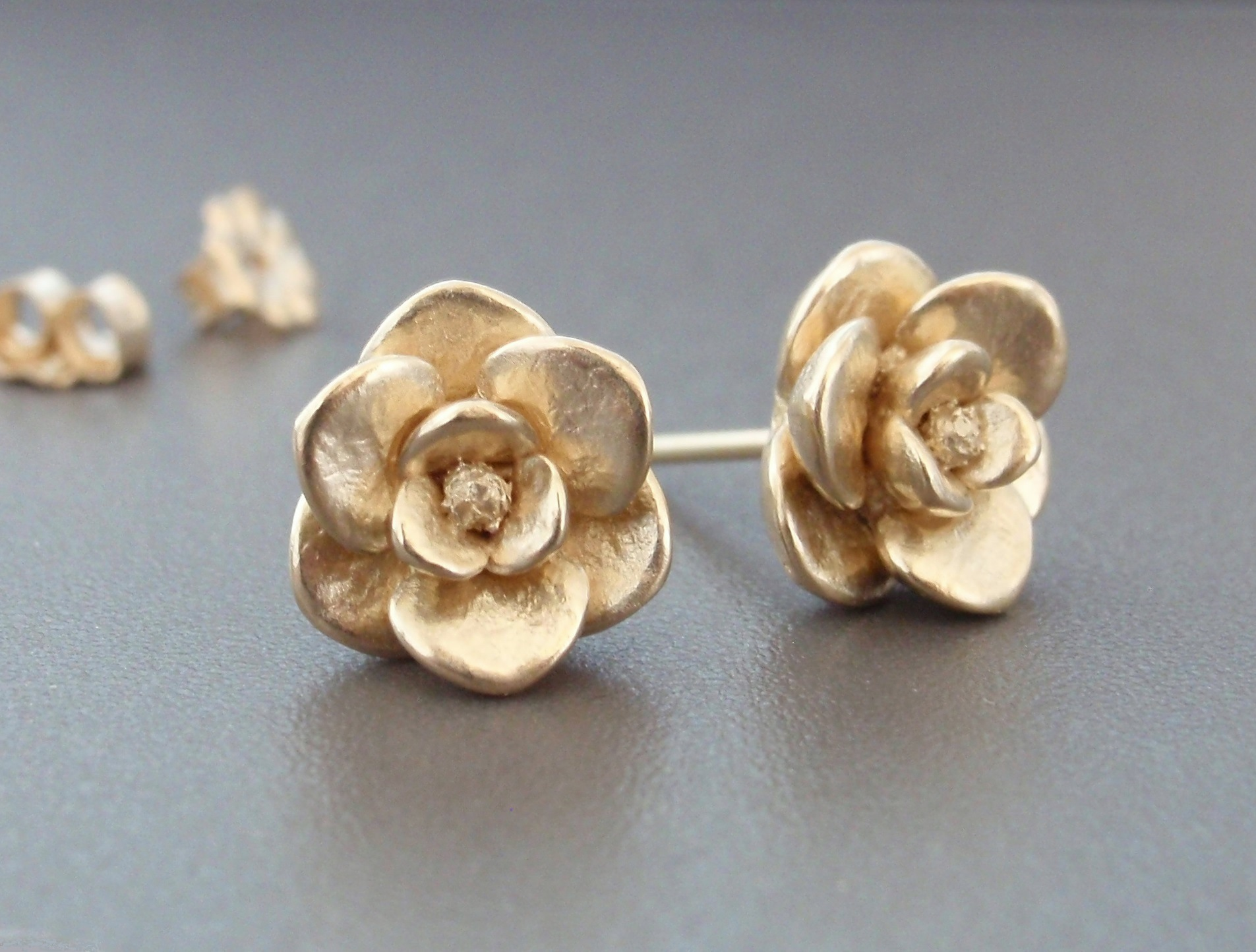 Magnolia Earrings in 14K Yellow Gold.