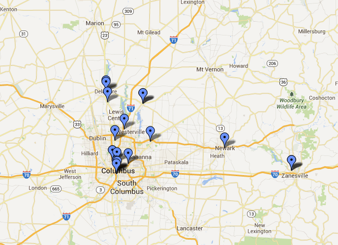 Map of public screenings during the tour found on Chasingice.com