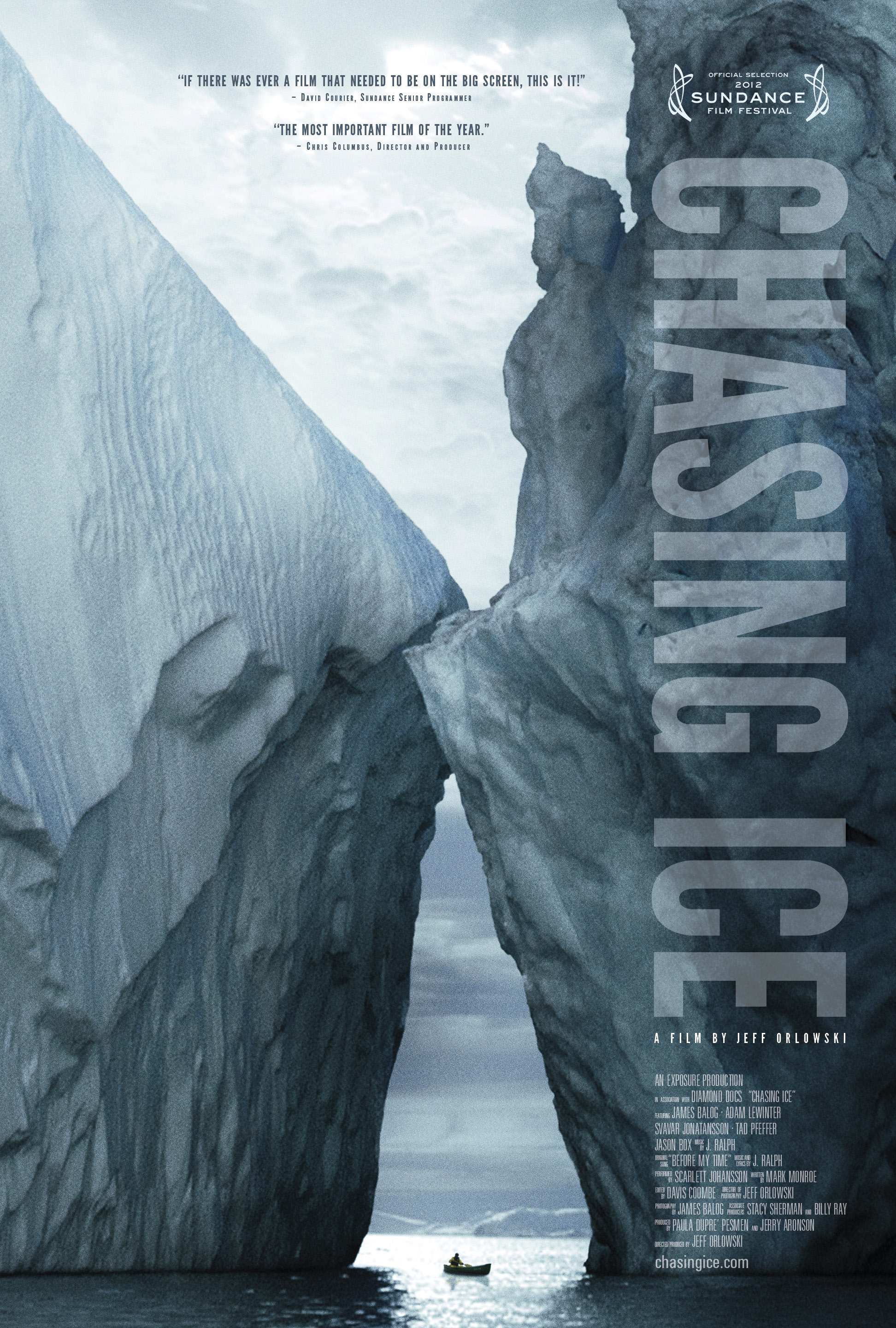 Chasing Ice   is the story of one man's mission to change the tide of history by gathering undeniable evidence of our changing planet. The film captures the work of James Balog as he creates his latest project:The Extreme Ice Survey. Balog deployed revolutionary time-lapse cameras across the brutal Arctic to capture a multi-year record of the world's changing glaciers. These hauntingly beautiful videos compress years into seconds and reveal ancient mountains of ice in motion as they disappear at a breathtaking rate. You can learn more about the film at our  Chasing Ice website .