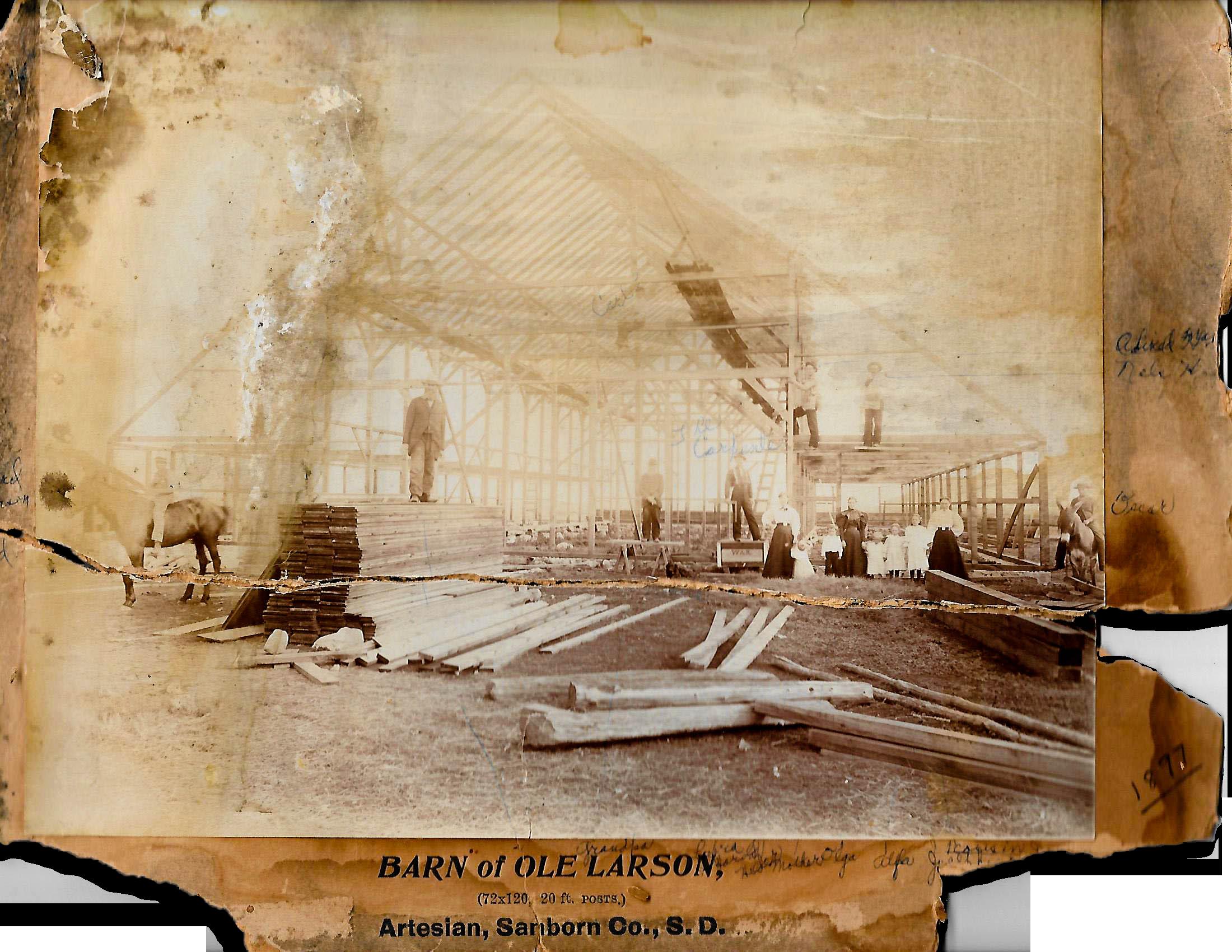 1st Generation  - Barn built by David's great-grandpa in Artesian, South Dakota, in 1897
