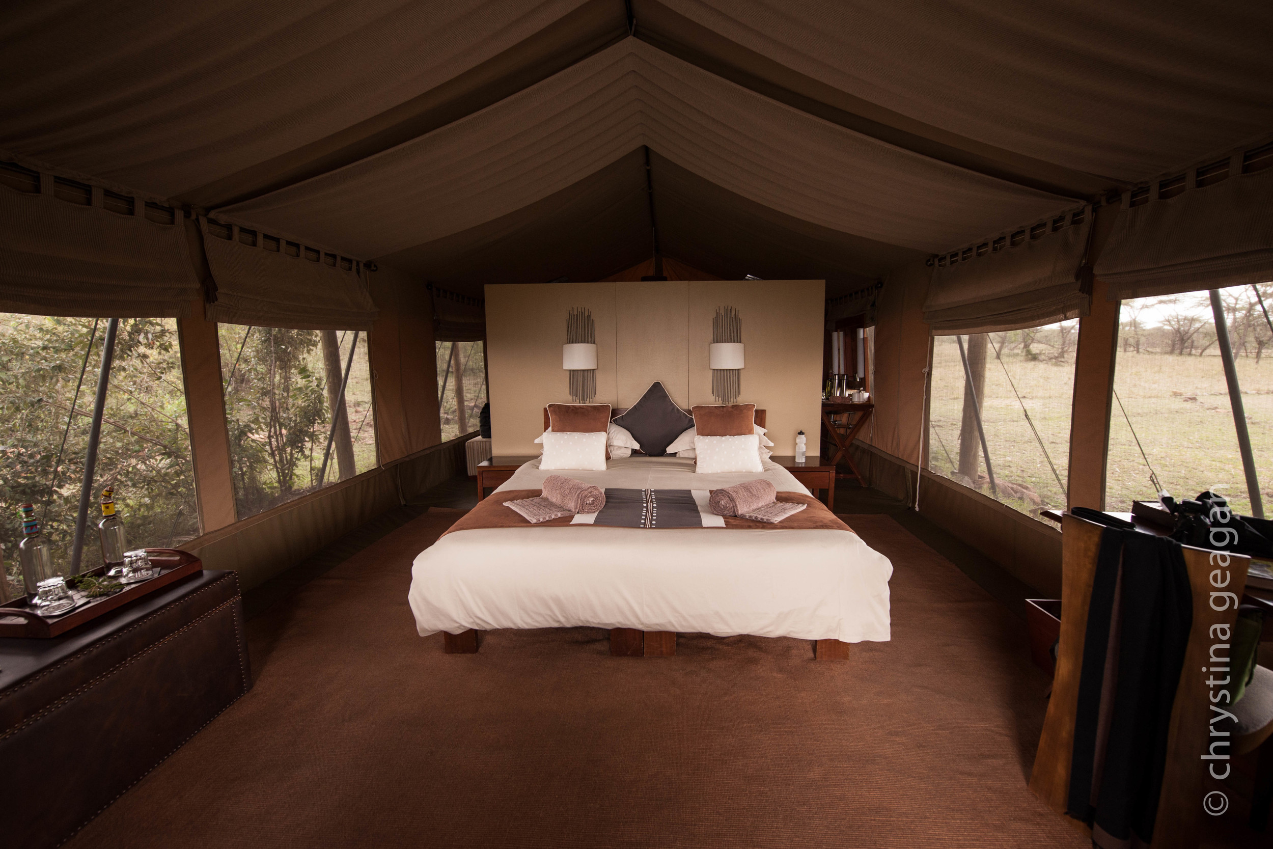 My room at Naboisho Safari Camp, Masai Mara, Kenya - Lions were in that window where the bushes are!