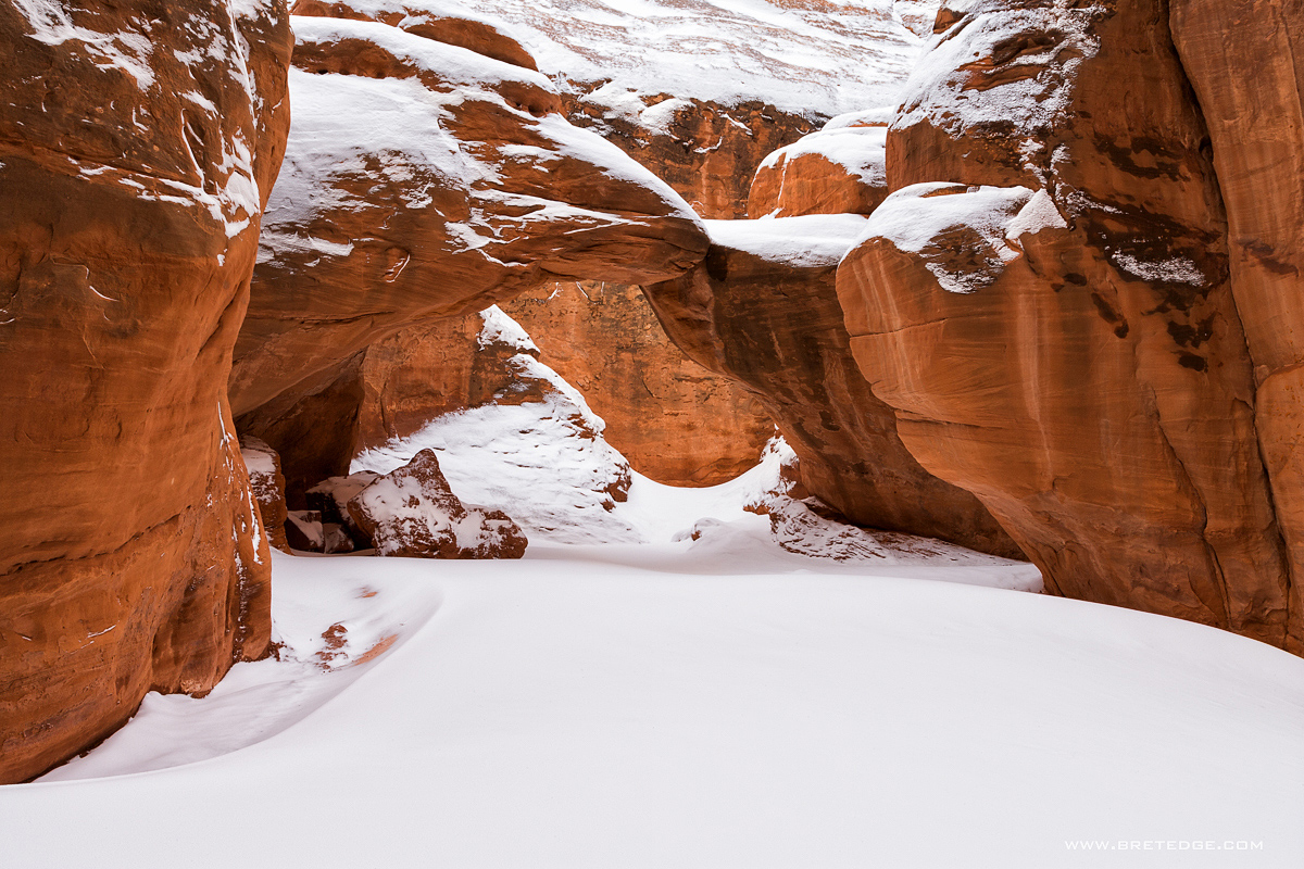 Fresh Snow at Sand Dune Arch, Arches National Park