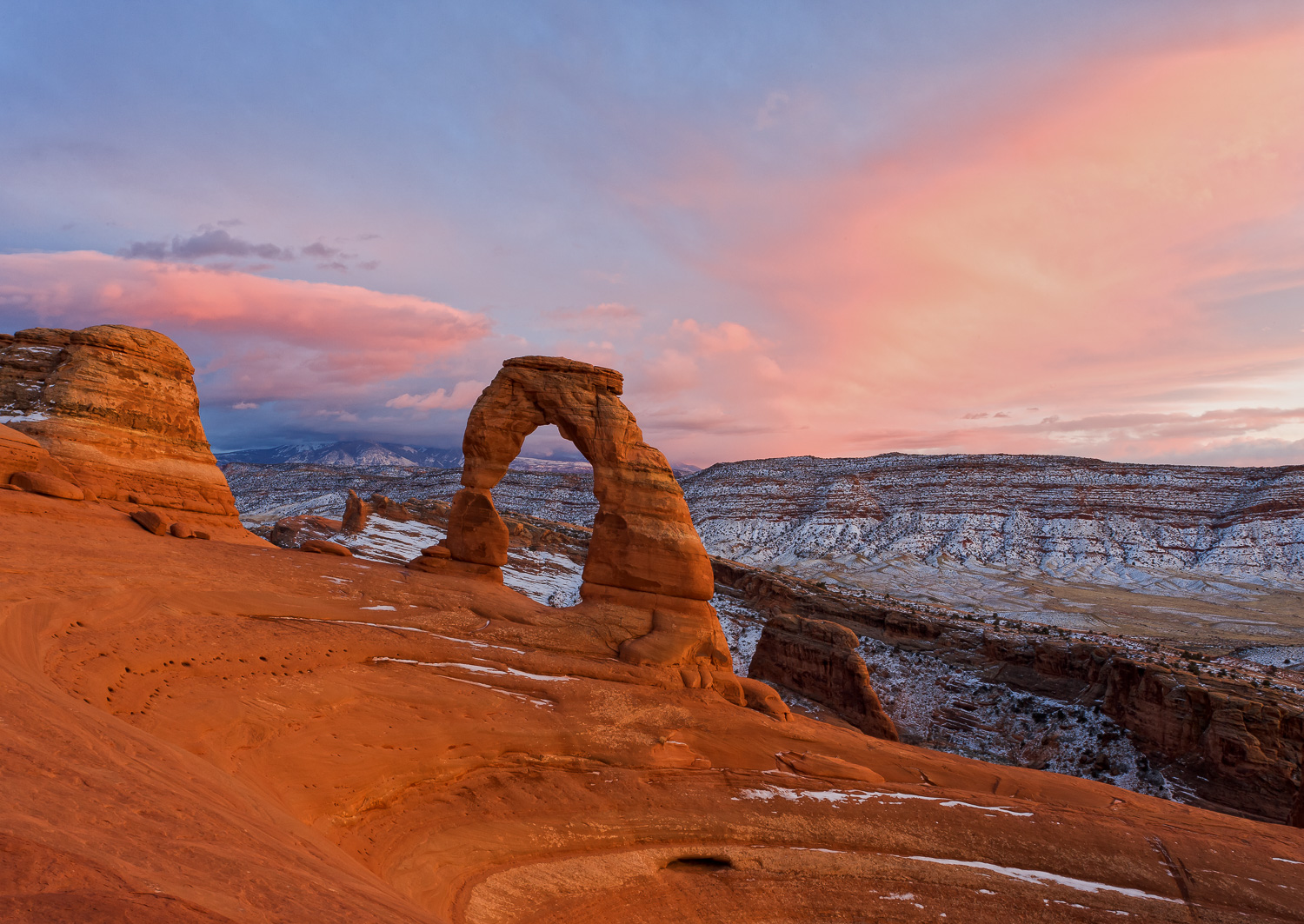 Winter Sunset at Delicate Arch 2, Utah