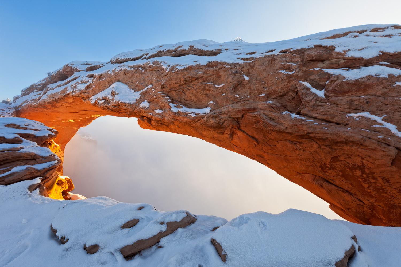 Mesa Arch in Winter Fog, Utah