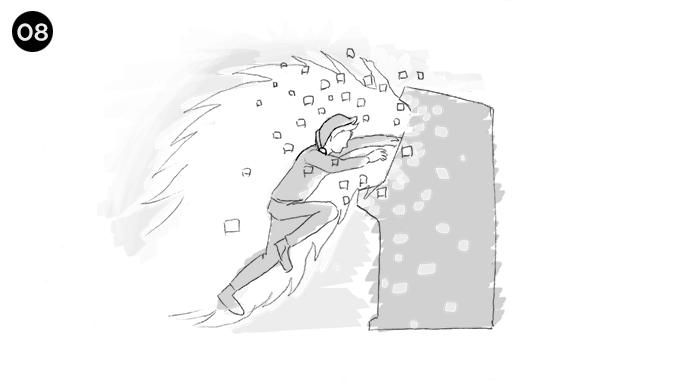 es entonces cuando el chico, de un salto se mete en la maquina de videjuegos comenzado su cuerpo a transformarse en pixel