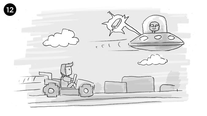 en un mundo 8 bits tipo Mario Bros, nuestro personaje persigue al alien quien va en su nave espacial y se lleva el PIXHELADO