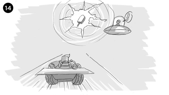 De pronto el PIXHELADO comienza dar un extraño destello que incluso sorprende al alien