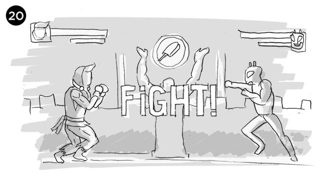 Ready? Fight!! vemos en la pantalla dando inicio al enfrentamiento por quedarse con el PIXHELADO