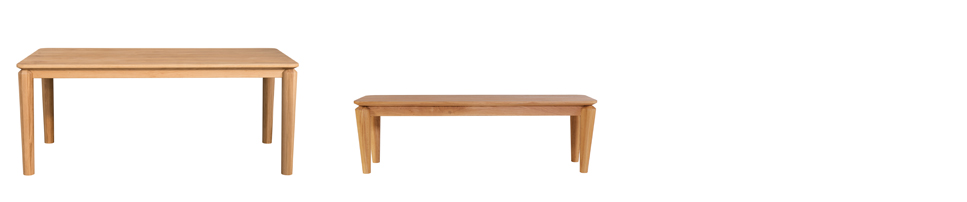 (L-R)  Hongg Dining Table  (185L x 90W x 75H) and  Hongg Dining Bench  (150L, 42W, 46H) Shown in solid oak with natural lacquer finish