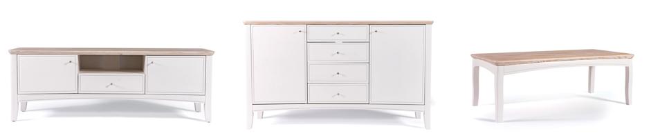 (L-R)  Brynmaer Media Unit  (152L x 42W x53H);  Brynmaer Sideboard  (152L x 47W x 88H); Brynmaer Coffee Table  (122L x 62W x 44H) Shown in painted solid spruce