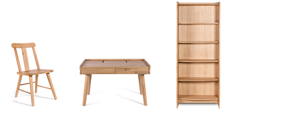 (L-R)  Titan Dining Chair  (53L x 45W x 88H)shown in solid oak with a natural lacquerfinish;  Lumber Writing Desk  (124L x 67W x 78H); Lumber Open Bookcase  (85L x 33W x 208H)both shown in solid oak with 5% glosslacquer finish
