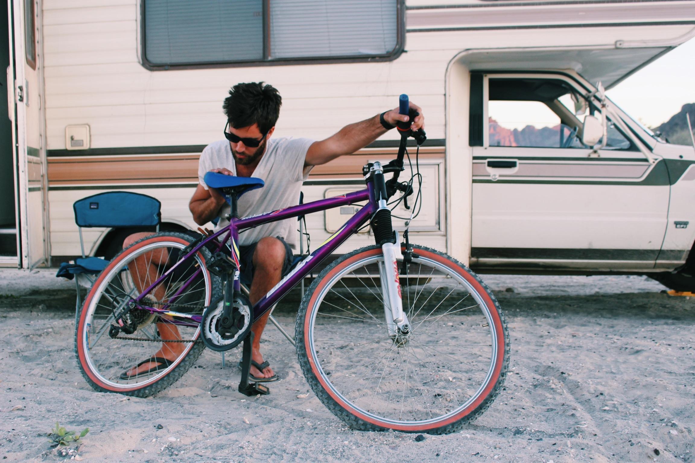 Adjusting the gears on Jacqui's new bike.