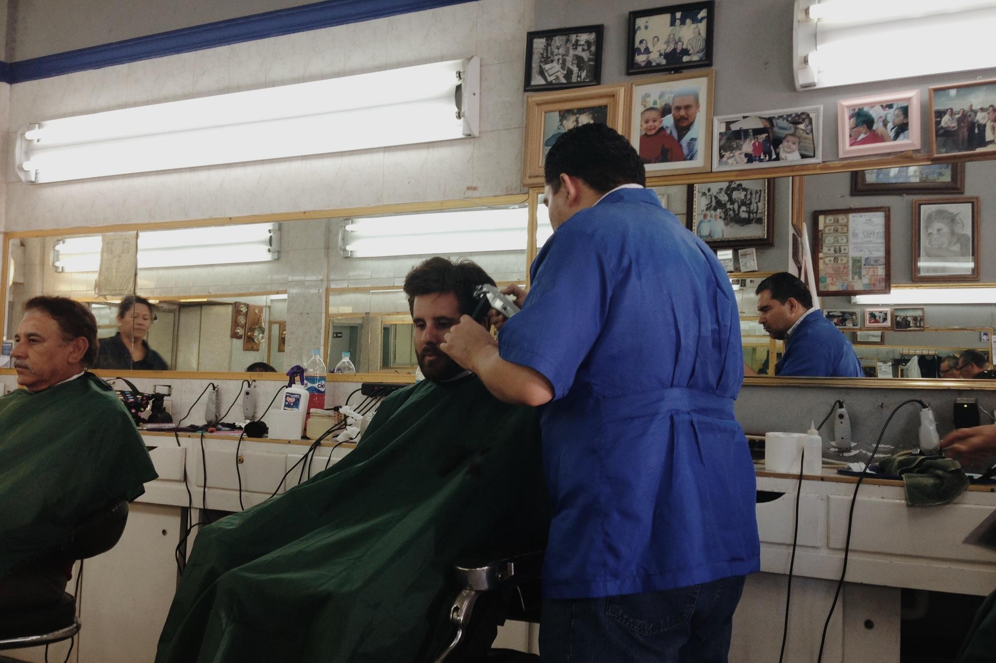 At the barber's in La Paz.