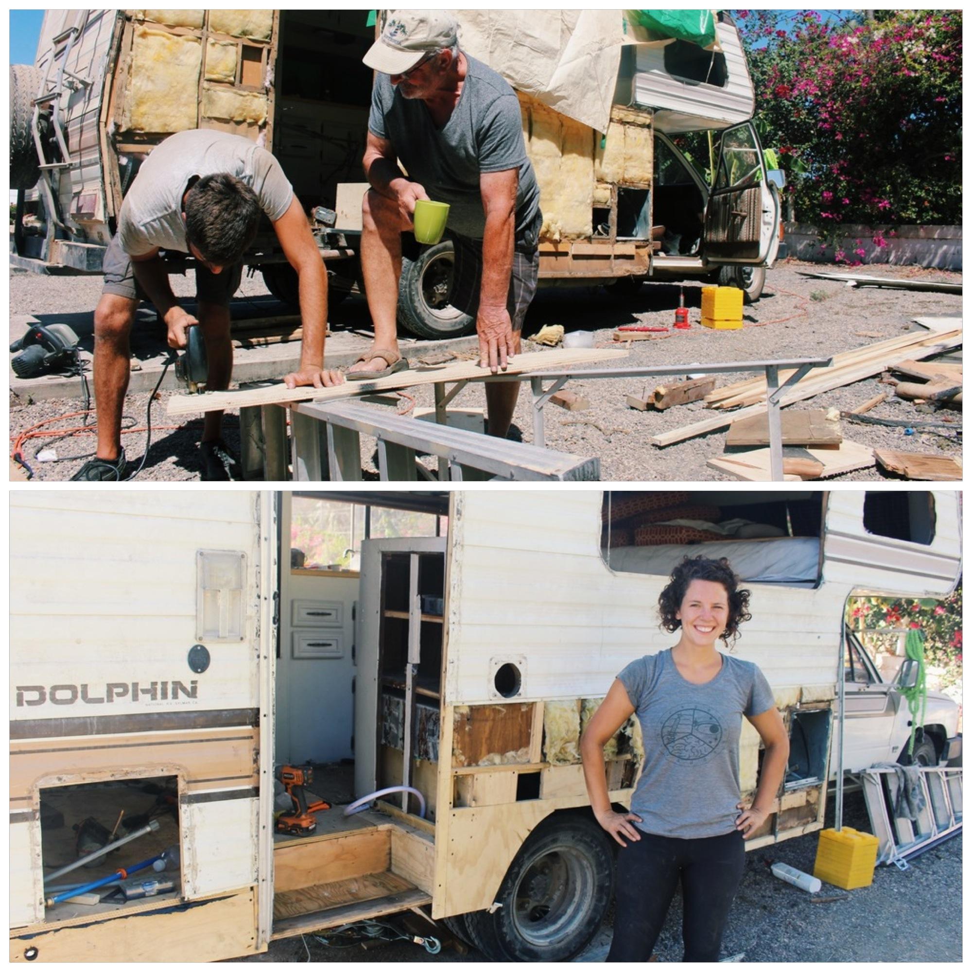 Cameron improving his carpentry skills under the tutelage of Jon. Jacqui feeling proud of the progress!