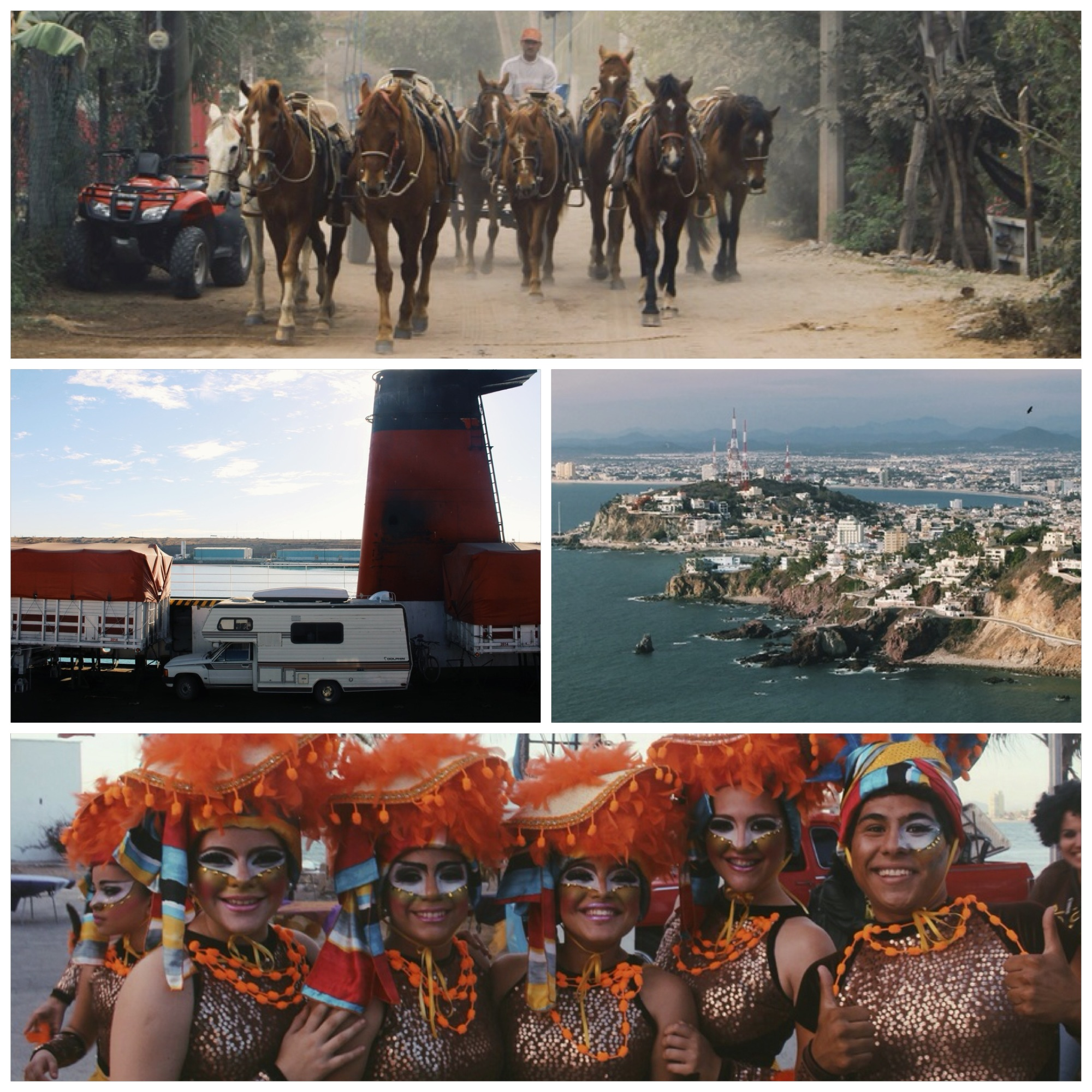 Horses onIsla de la Piedra.  Taking the Ferry from Baja, Mazatlan as seen from the lighthouse, and Carnaval!