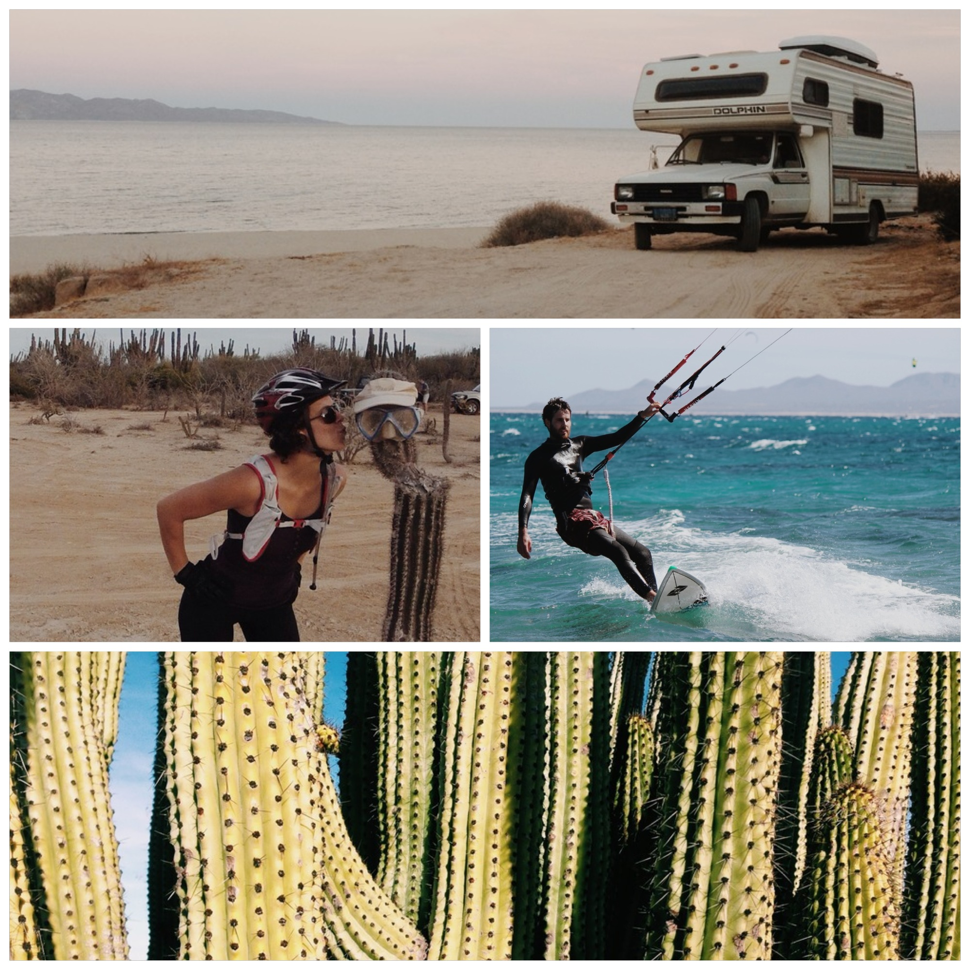 """The Dolphin camped out near """"Rasta Beach"""". Smooching and mountain biking don't mix? Cameron shredding and some awesome cacti."""