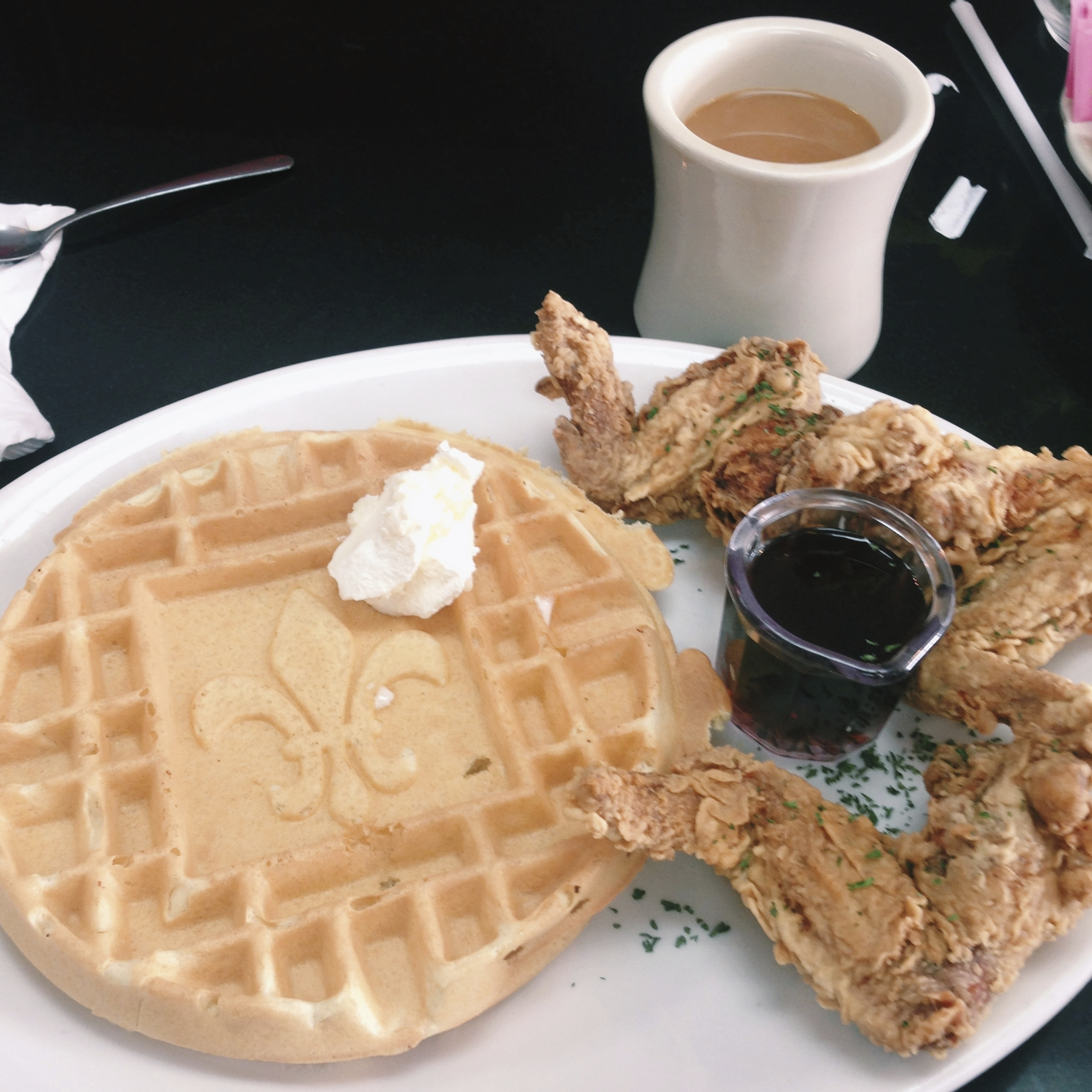 Big Momma's Chicken and Waffles.  We both gained several pounds that morning. Worth it!