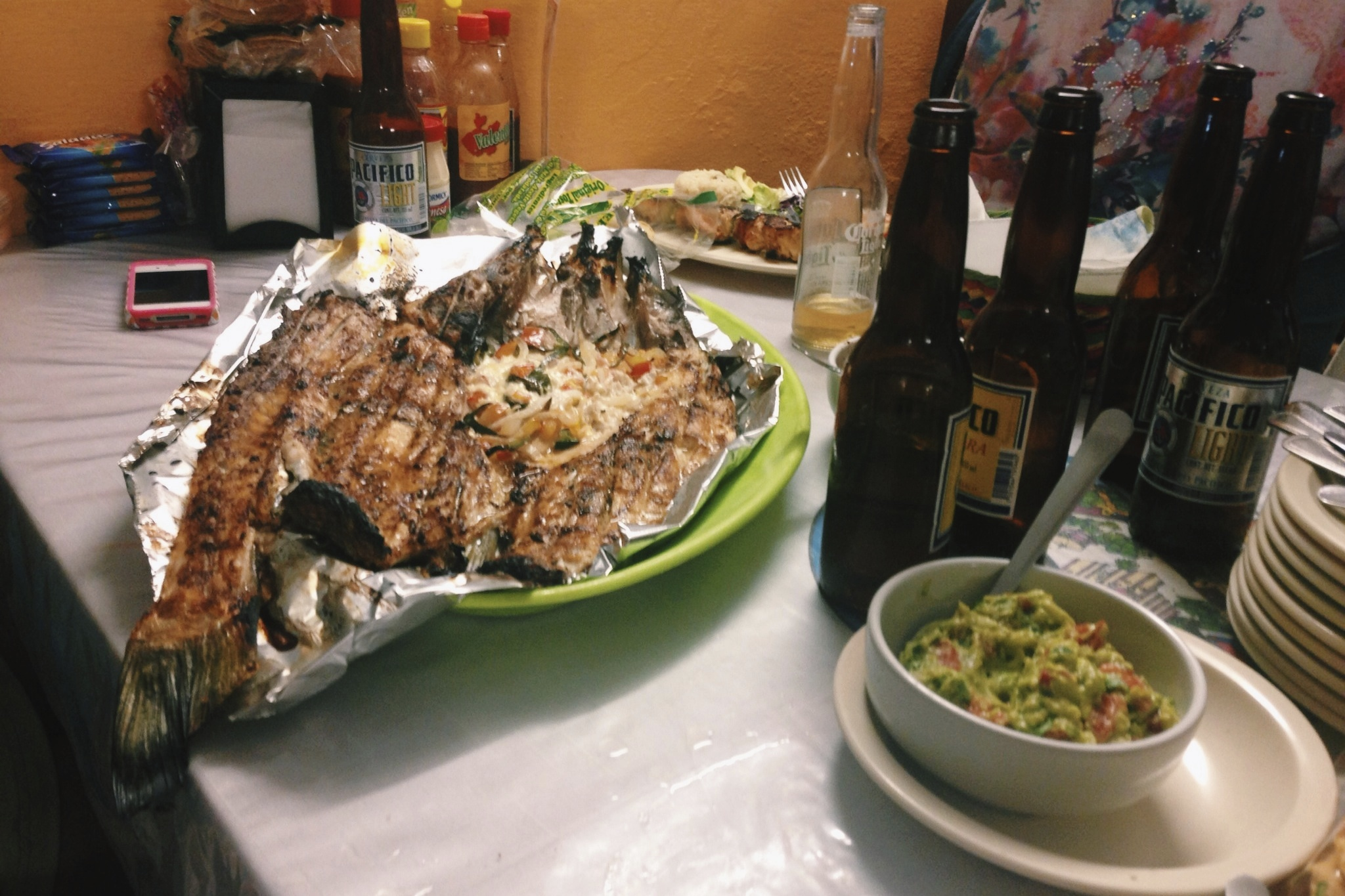 A lot of fish and cervezas