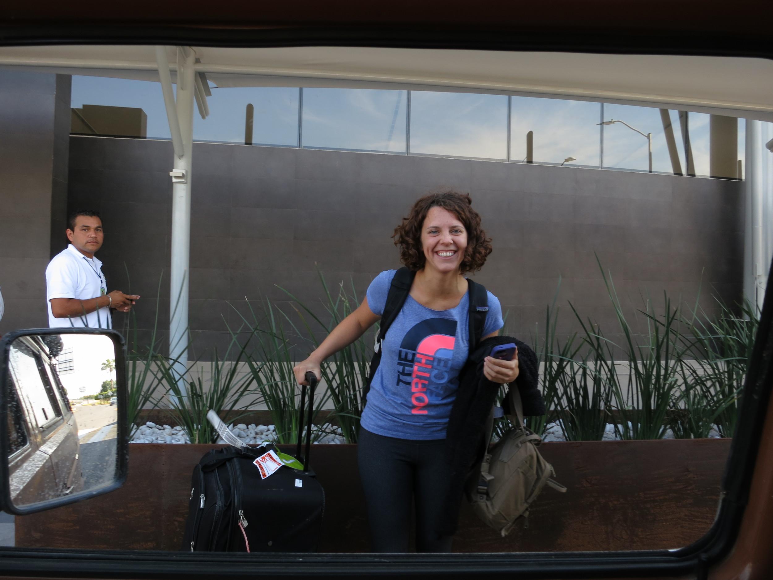 Picking up Jacqui at the Mazatlan airport
