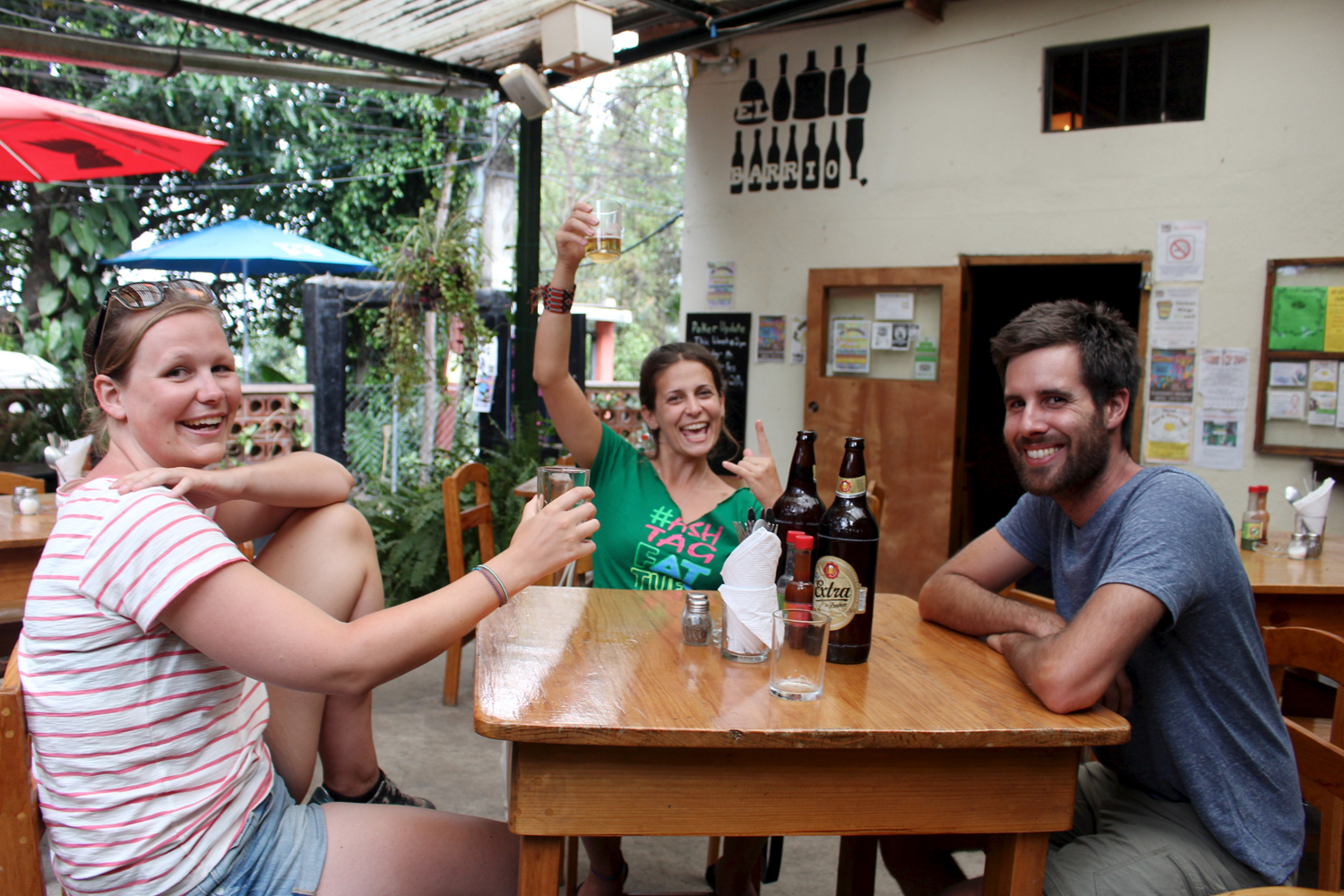 New friends out for a brew or two. With Marriette from Holland and Daniella from Brazil.