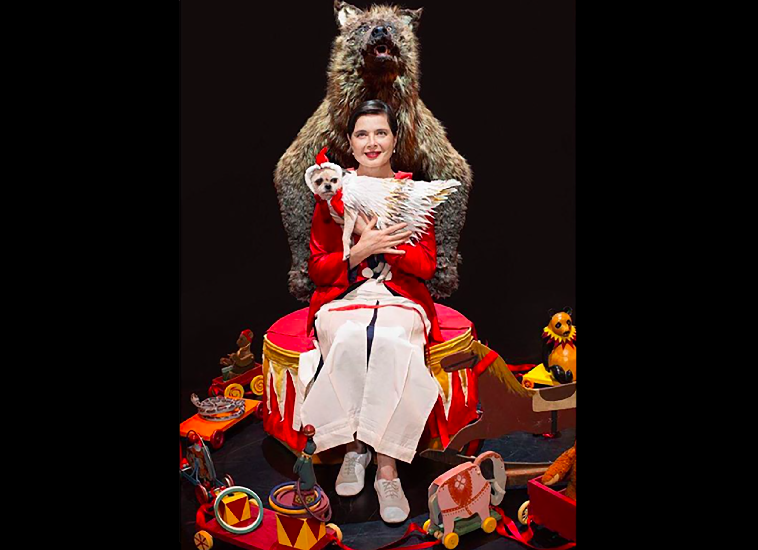 "THE POSTER FOR ISABELLA ROSSELLINI' S UPCOMING SHOW! ""LINK-LINK CIRCUS"" PREMIERING IN BARCELONA IN MARCH, THEN NEW YORK CITY AND MANY MORE PLACES. I MADE HER COSTUME, AN INCREDIBLE CHANCE!   HERE PHOTOGRAPHED BY BRIGITTE LACOMBE DURING THE REHEARSALS IN NOVEMBER 2017"