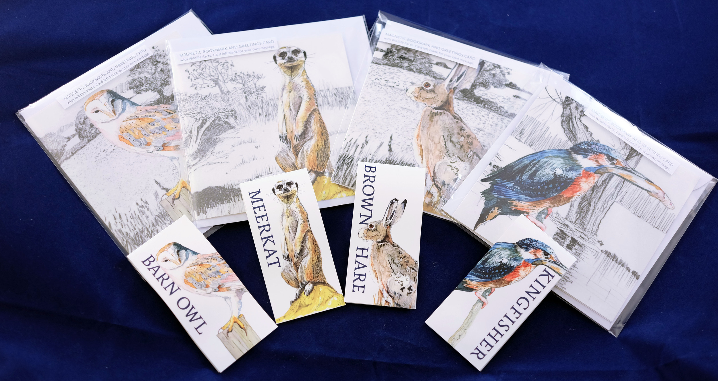 Magnetic Bookmark and Greetings Cards: Barn Owl, Hare, Kingfisher and Meerkat. All available on Etsy just search for ArtfullPuffin. RRP £3.99. Original illustrations by David Evans of Platform One, Monmouth.