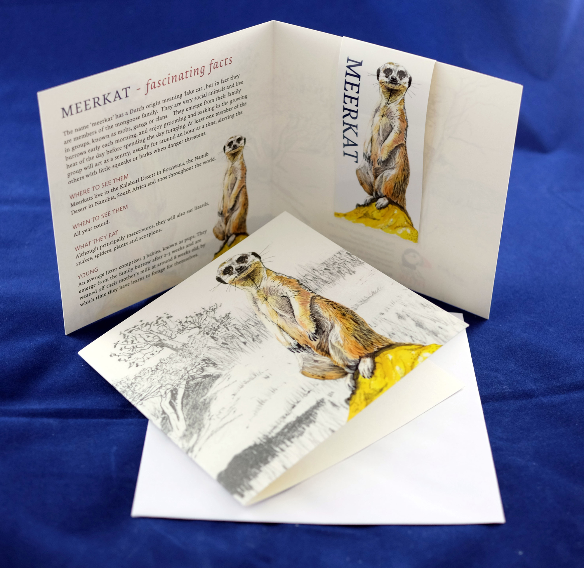 Meerkat Magnetic Bookmark and Greetings Card. RRP £3.99 from Etsy
