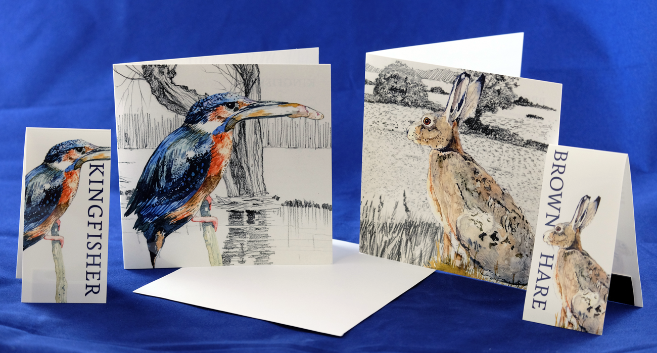 Kingfisher and Hare Magnetic Bookmarks and Greetings Cards. RRP £3.99 from Etsy