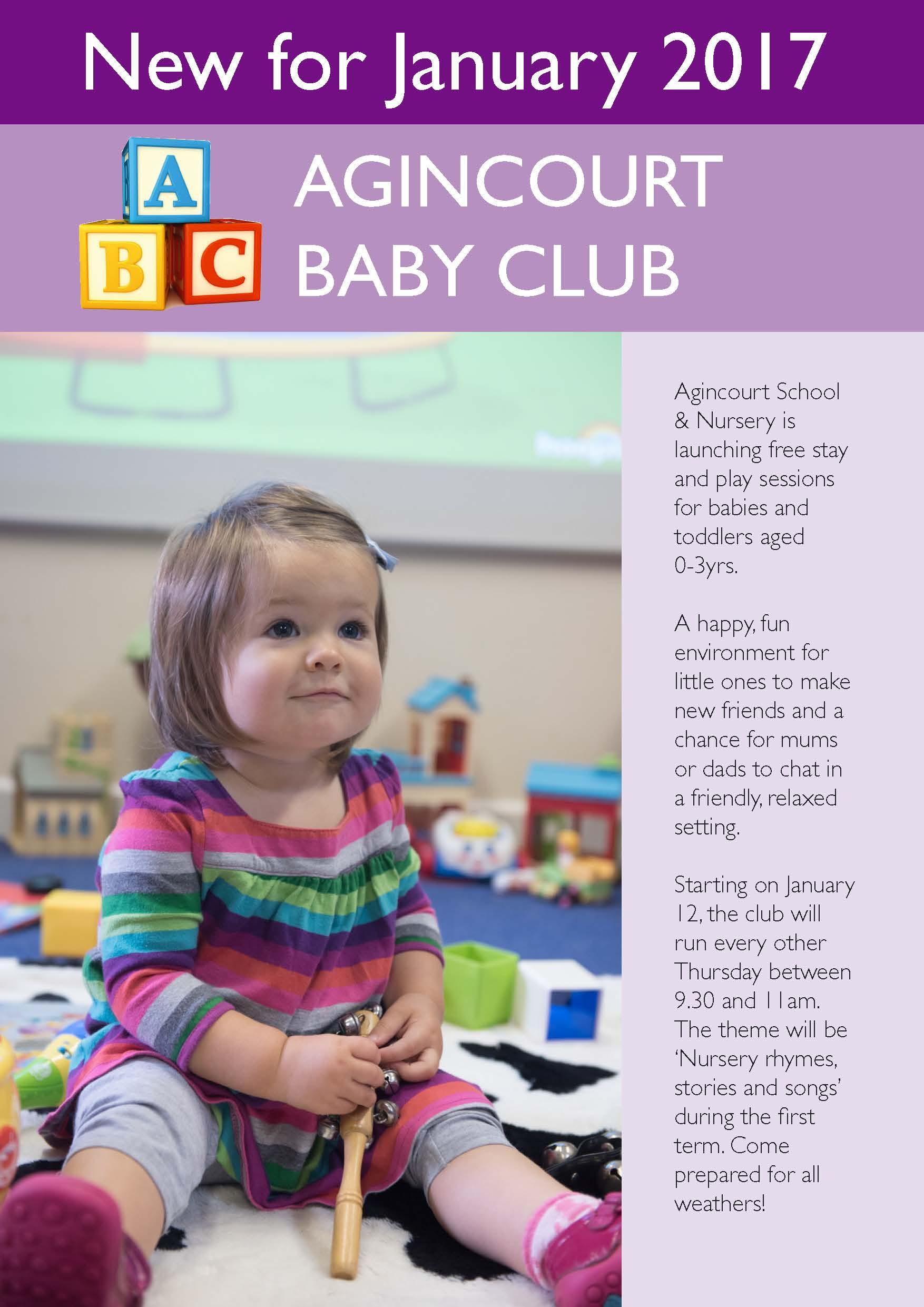 AGINCOURT SCHOOL NEW BABY CLUB LEAFLET