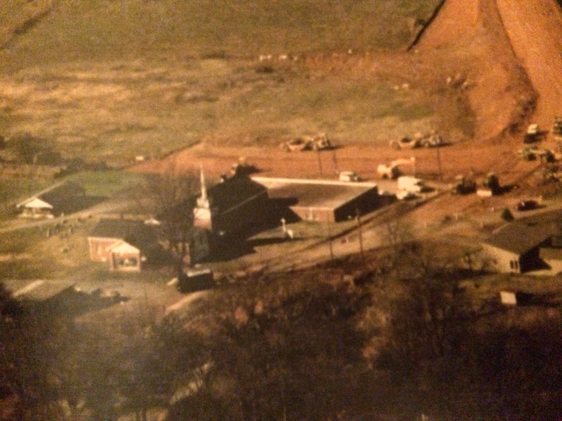 The church ground from overhead when Peoples Street was constructed.