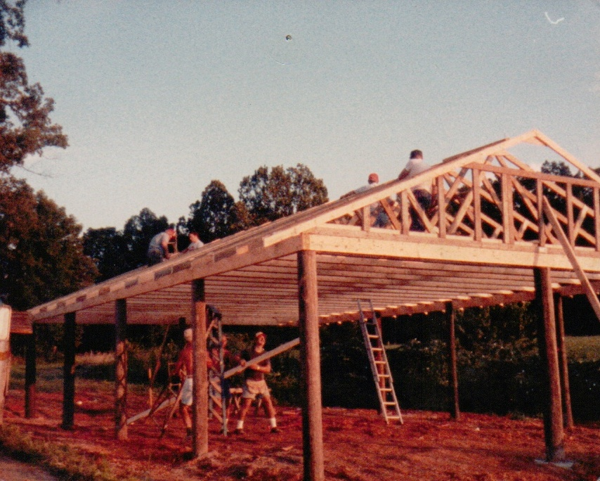 The pavilion being constructed in 1984.