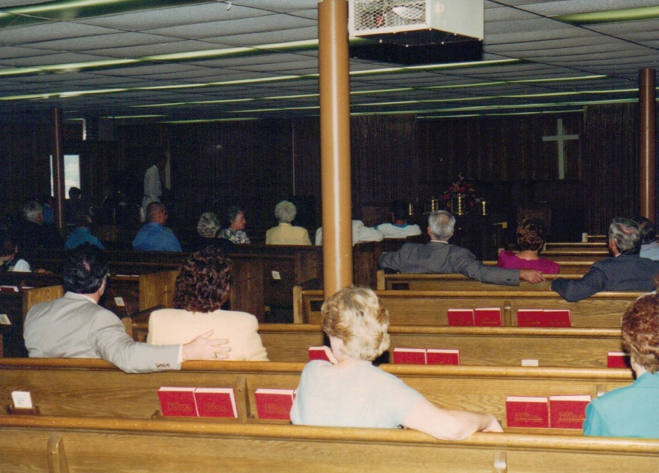 During the 1996 remodel, church services were held in the fellowship hall.