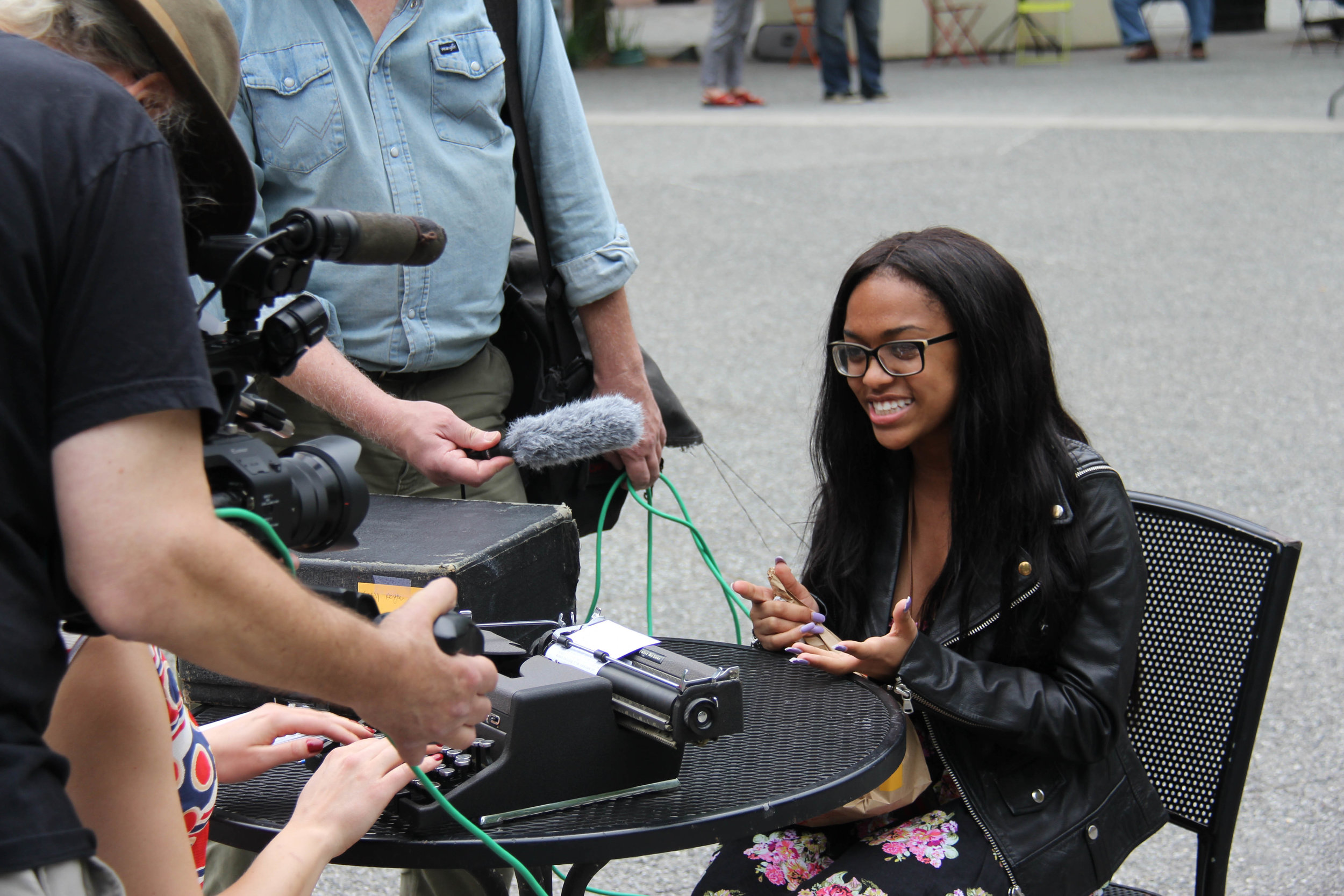 A participant being interviewed during  I Wish to Say . Photograph by Kahmeela Friedson.
