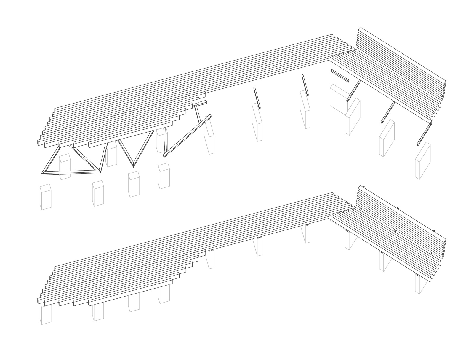 Final benches: exploded, axonometric, construction drawings showing white oak wooden slats, welded steel frames, and poured concrete feet. May 2012.