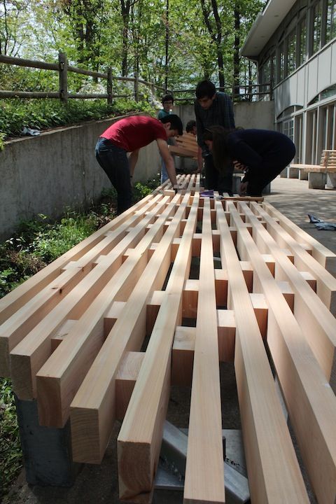 Living Courtyard: bench assembly detail showing white oak slats. May 2012.