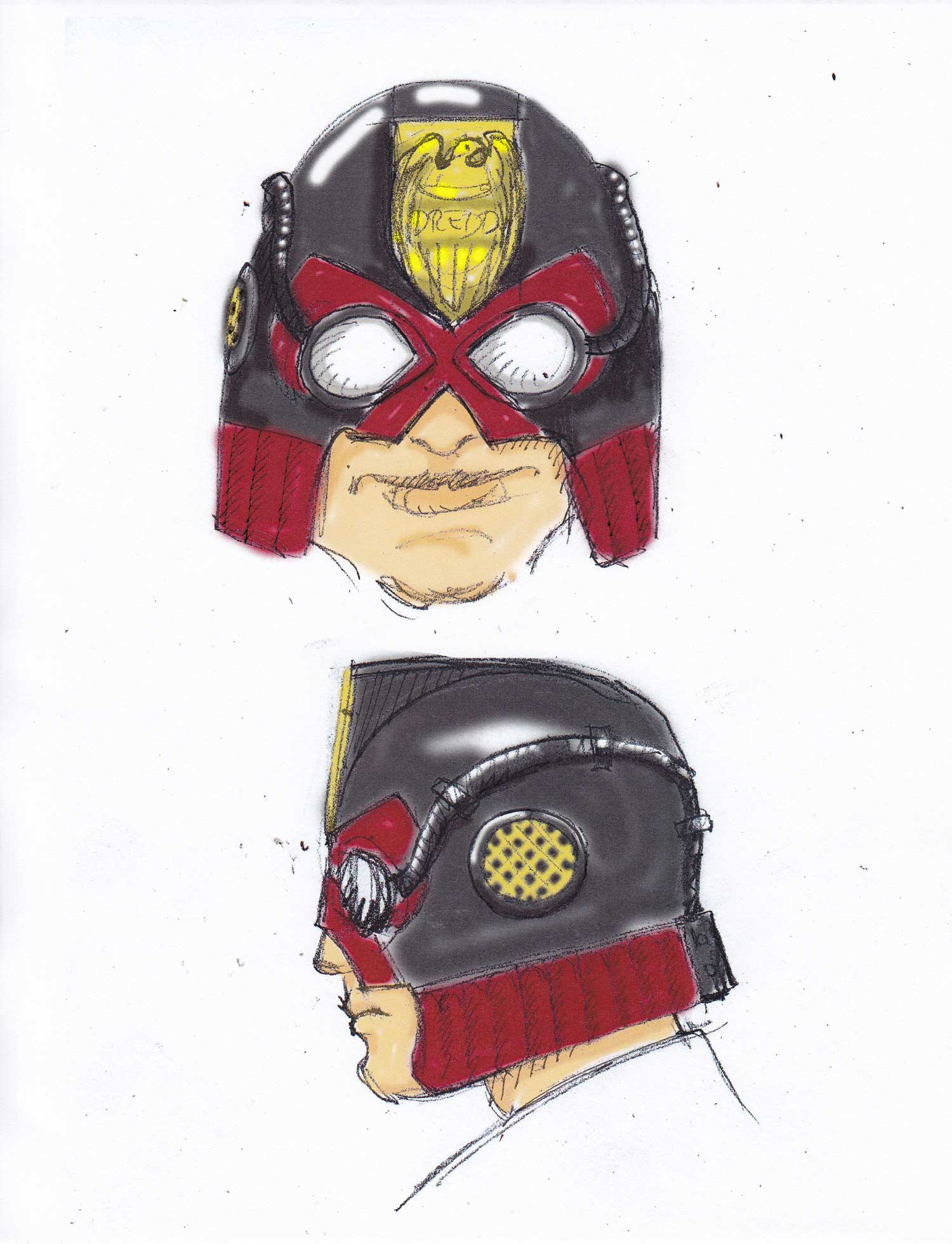 My preliminary sketches for a steampunk version of the helmet
