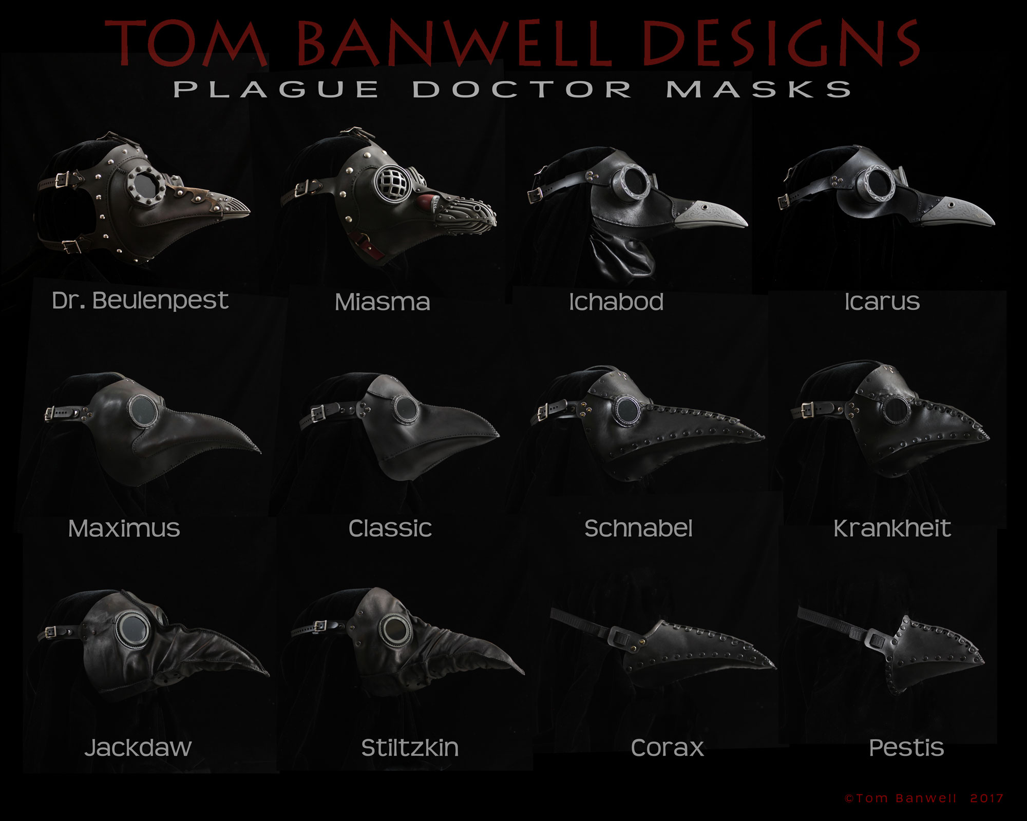 We offer a wide selection of plague doctor masks as seen in this side-by-side comparison, from fancy steampunk at upper left to simple beak mask in lower right.